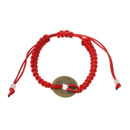 $enCountryForm.capitalKeyWord UK - Chinese Feng Shui Wealth Lucky Copper Coin Pendant Red String Bracelets Jewelry