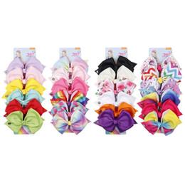 $enCountryForm.capitalKeyWord Australia - 6 Pieces Set Rainbow Printed Knot Hair Clip Ribbon Bow Hair Clip Headwear For Kids Girls Styling Accessories Tools