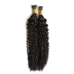 $enCountryForm.capitalKeyWord UK - Unprocessed Mongolian Virgin Hair Keratin Human Fusion Hair I Tip afro kinky curly Remy Pre Bonded Hair Extension 100strands Free Shipping
