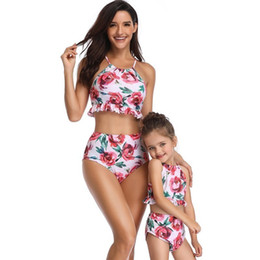 $enCountryForm.capitalKeyWord Australia - Floral Mother Daughter Matching Family Bathing Suits For Mommy And Me Swimsuit Mom Baby Swimwear High Waist Bikini Vintage Mum