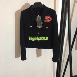 $enCountryForm.capitalKeyWord Australia - high end women girls denim bomber jacket lips patch lapel neck long sleeve sweatshirt blouse top quality fashion design luxury outerwear