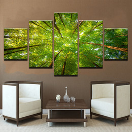 $enCountryForm.capitalKeyWord NZ - Painting For Living Room Home Decoration 5 Panel Tree Landscape Print Cuadros Modular Pictures Poster Frame High Quality Canvas