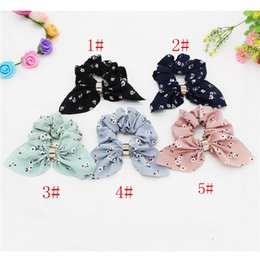 pony tails plates Australia - Fashion Retro Bow Hair Ring Flower Fabric Scrunchy Ponytail Holder Hair Ties Elastic Hair Bands Rubber Bands