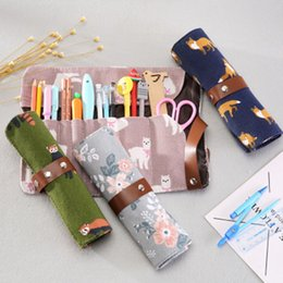 $enCountryForm.capitalKeyWord Australia - 1 pcs Animals Pencil Case Cartoon Kawaii Canvas Roll Pouch Makeup Brush Pen Storage Pencil Box school supply For Kids Gifts