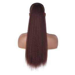 Discount high hair buns - Women Drawstring Kinky Straight Bun Seamless Headwear Corn Wigs Ponytail Tied Afro Clip In Synthetic High Puff Hair Exte