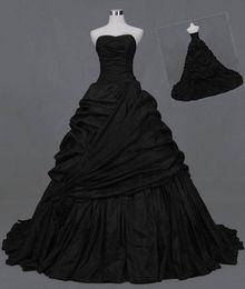 $enCountryForm.capitalKeyWord Australia - Gothic Black Strapless Quinceanera Ball Gown Wedding Dresses for Party Custom Plus Size Formal Wedding Occasion Dress