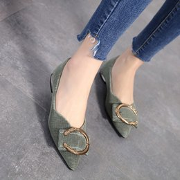 $enCountryForm.capitalKeyWord NZ - Woman Shoes Luxury Flats Loafers Fashion Buckle Pointed Toe Shoes Shallow Slip on Slides High Quality Zapatos Mujer Green Beige