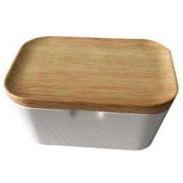 Chinese  Enamel Butter Dish Butter Box Container With Wooden Cover Home Tool Useful, Home Storage Box 250ml Multi-Function manufacturers
