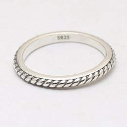 Ring Fit Women Australia - Authentic 925 Sterling Silver Ring Classics Vintage Intertwined Twisted Rings For Women Wedding Party fit Lady Jewelry