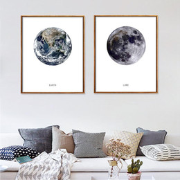 moon painting abstract 2019 - Earth Moon Nordic Art Canvas Painting Wall Waterproof Pictures Spray Ink Unframed Decor Canvas Poster Home Office Decor