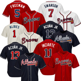 Wholesale Atlanta Custom Braves Maglie Ronald Acuna Jr. Austin Riley 27 Ozzie Albies Freddie Freeman Dansby Swanson Chipper Jones 10