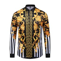 Wholesale dog collar shirts for sale – custom HOT Autumn winter Harajuku Medusa gold chain Dog Rose print shirts Fashion Retro floral sweater Men long sleeve tops shirts