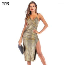 Wholesale formal clothing for women online – Split Up Vestido Dresses Deep V neck Sexy Dress for Women Clothes Summer Formal Party Spaghetti Strap
