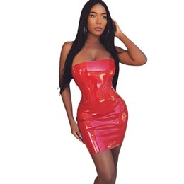 c120a7be881 Sexy Women Faux Leather Bodycon Dress Zip Back Off Shoulder Strapless Tube  Dress Clubwear Party Sheath Stretch Slim Dress Red