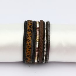 $enCountryForm.capitalKeyWord NZ - leopard print leather bracelet Jewelry Alloy Engrave Bracelet For Women Magnetic Clasp beaded Bangles Crystal Rhinestone Female Accessor