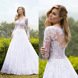 $enCountryForm.capitalKeyWord Australia - Modest White Wedding Dresses Beads V Neck Lace Appliques Long Sleeve Vestidos de Novia Sweep Train Boho Country Bridal Wedding Gowns