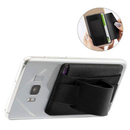cell phone credit card pouch 2019 - Fashion Men Women Lycra Leather Multifunction Adhesive Sticker Back Cover Card Case Pouch Stand Holder For Cell Phone Ne