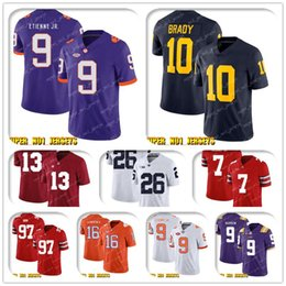 justin tucker jersey Canada - NCAA Travis Etienne Jr. 10 Tom Brady Wolverines College Football Jersey Lamar Jackson Mark Ingram Marquise Brown Justin Tucker Earl Thomas