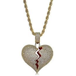 $enCountryForm.capitalKeyWord Australia - Solid Broken Heart Necklace & Pendant New Men Women Hip hop Jewelry Bling Cubic Zircon Gold Color With Rope Chain For Gift