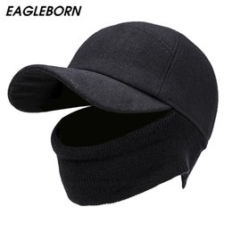 fitted ball caps wholesale Australia - EAGLEBORN Men's Baseball Cap Winter Warm Earflap Dad Hats Warm Russia Hats Casquette Gorro Fitted Earmuff Protection Gorras Para