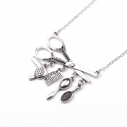 Old Fashioned Gifts Australia - Fashion Jewelry Barber Shop Old-fashioned scissors Pendant Necklace Creative Party Gift Chains For Hip-pop Men's Wear