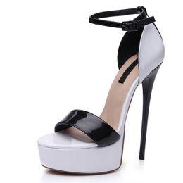 $enCountryForm.capitalKeyWord Australia - Hot Sale- sexy trendy White and Black Shiny Patent Platform Stiletto High heel 16cm Sandals for women summer evening party size 37 to 46