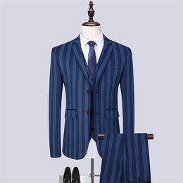$enCountryForm.capitalKeyWord UK - Spring & Autumn Men Striped Blazer jacket & Pans & Vest Waistcoat Asian Size S - 6XL Blue Mens Dress 3 Piece set Slim Design