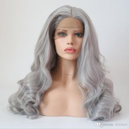 Silver wavy wig online shopping - Grey Synthetic Wigs With Baby Hair High Temperature Glueless Long Wavy Grey Silver Synthetic Lace Front Wig For White Women