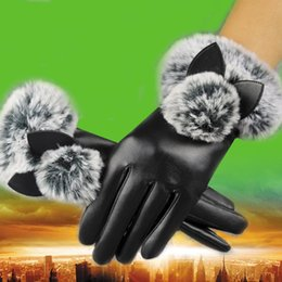leather fur gloves NZ - Fashion Women fur pompons Imitation Leather Gloves Female Autumn Winter Cat Ears Driving Mittens Lady Full Finger Gloves guantes