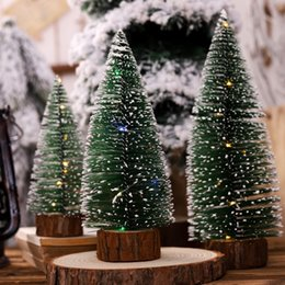 wooden string lights 2019 - Artificial Christmas Pine Tree On Round Wooden Base With Battery Powered LED Light String Xmas Holiday Gift Tabletop Dec