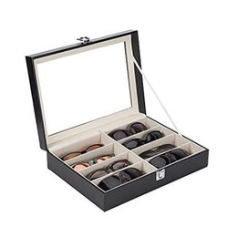 Box Jewelry Storage Organizer Black Australia - SZanbana Black 8-Slot Faux Leather Eyeglasses Storage and Sunglass Glasses Display Case Glasses Organizer Collector Jewelry Box