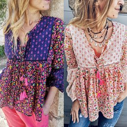 Floral Print Shirts Baby Australia - Double fringed long-sleeved Simia positioning printed baby doll tops lace small floral shirt women's blouses shirts sexy shirt