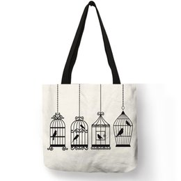 Cartoon Nature Australia - Nature Colored Linen Tote Bags For Women Girls Bird Cage Plaid Animal Leaf Printing Storage Package Casual Daily Office Handbag