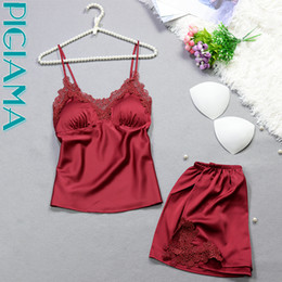 e6b27e0a32 6 Colors Pajama Set For Women Sexy Silk Lace Pyjamas Lingerie Straps Pijama Ladies  Bathrobe Babydoll Short Pajama Suit 2pcs