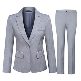 black formal jackets women 2019 - Grey 2019 Mother Of The Bride Pant Suits Women Slim Fit Business 2 Pieces Suits One Button Formal Office Ladies Blazer (