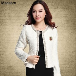 office suit cardigan NZ - Blazer for Women Coats 2019 Autumn Vintage Diamonds Feminino Jackets Formal Lady Suit Office Work Wear Top Cardigans White,Black