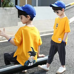 youth summer clothing NZ - Teens Children Boys Whiter Clothing Set Kids Summer Dragon Ball Clothes Teenager Leasure Youth Child Male Outfit 9 10 12 Years T200607