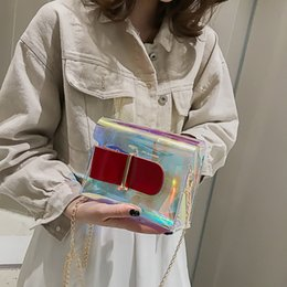 Ladies Red Handbag Australia - Women Laser Transparent Jelly Bag Luxury Womens Hasp Wild Messenger Bag Ladies One Shoulder Female Handbags sac osier