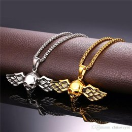 skull wing pendants Canada - 316L Stainless Steel Skull Pendant Men's Silver Gold Plated Vintage Punk Jewelry Wing Skull Pendant Came With Cool Men Chain SP01