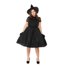 Gothic Woman Costumes UK - Black Plus Size Halloween Witches Costume Short Sleeve Gothic Beauties Uniform Large Size Mesh Ghost Fancy Dress for Women