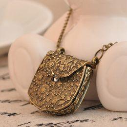 $enCountryForm.capitalKeyWord Australia - Unique Design Vintage Unique Bag Box Shape Carved Locket Pendant Long Chain Necklace Fashion Jewelry For Women dropshipping