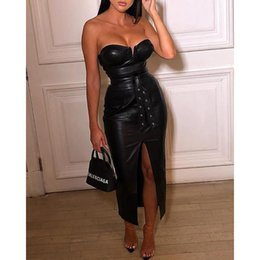 "$enCountryForm.capitalKeyWord Australia - ""Backless pu leather dress Women high split black tight party dress Sexy night club wear low cut bodycon dresses belted vestidos 4.7 N19.7-2"