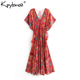 peacock casual dress NZ - Boho Vintage Floral Peacock Print Long Dress Women 2019 New Fashion Bandage V Neck Summer Beach Dresses Casual Vestidos Mujer Y19050905
