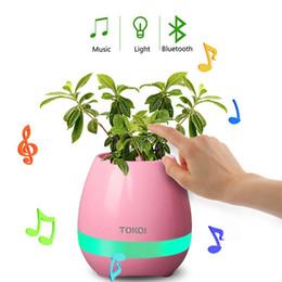 Office Speakers Australia - Music Flower Pot Speaker Smart Wireless Finger Bluetooth Switch Office Living Room Decoration Home Speaker Desk Touch Night LED
