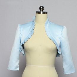 $enCountryForm.capitalKeyWord Australia - Sky Blue Stain Wedding Secret Wedding bolero jacket 3   4 Sleeve Cape Corrugated Bolero Shawl Woman Chest Wedding Accessories