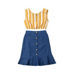 $enCountryForm.capitalKeyWord UK - New 2PCS Kids Clothes Set Baby Girls Summer Striped Tank Crop Tops Denim Ruffle Skirts Dress Cute Girl Baby Clothing Outfit 2-7Y