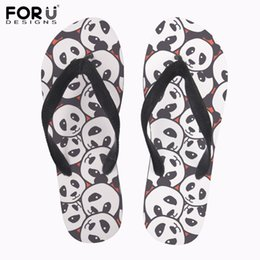 pandas slippers Australia - FORUDESIGNS 2019 New Design Panda Animal Cute Cat Women Non-slip House Slippers 3D Printing Summer Beach Flip Flips for ladies