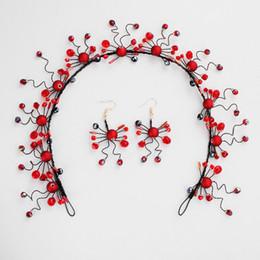 $enCountryForm.capitalKeyWord Australia - Chinese style wedding bridal tiara red wedding dress toasting dress with jewelry handmade pearl hair with earrings set