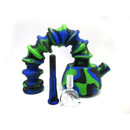 $enCountryForm.capitalKeyWord Australia - Expandable Silicone Bong Flexible Folded Water Pipes Dab Rigs Smoking Bong With joint size Glass Bow