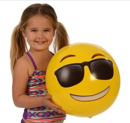 toys boats NZ - 30cm 12inches Emoji PVC Inflatable Beach Balls Inflatable Ball Pool Outdoor Sand Play Water fun Toys Happy Cry Angry QQ expressions